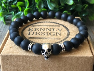 Black gemstone skull bracelet